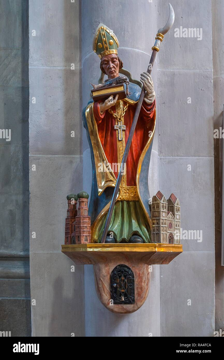 Saint St. Benno with model of the Church of Our Lady and St. Benno, parish church St. Benno, Neo-Romanesque, Munich - Stock Image