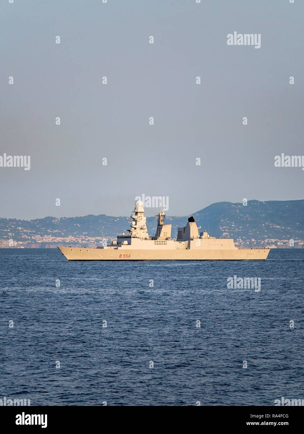 Caio Dullio warship, Horizon class, rocket equipped frigate, escort ship for aircraft carrier, port of Naples, Naples - Stock Image