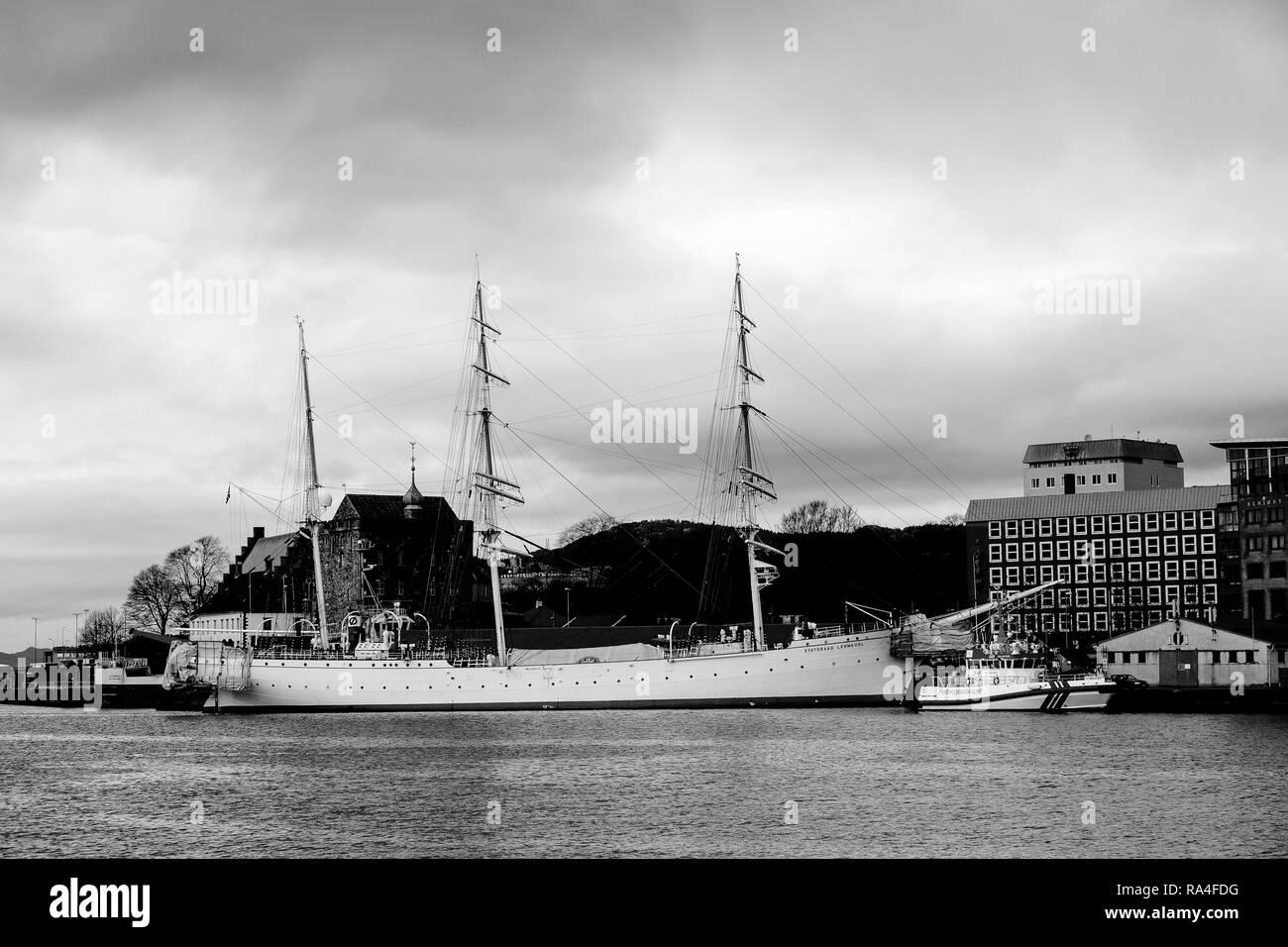 Norwegian training sail ship Statsraad Lehmkuhl berthed in Bergen, Norway. February 2007. - Stock Image