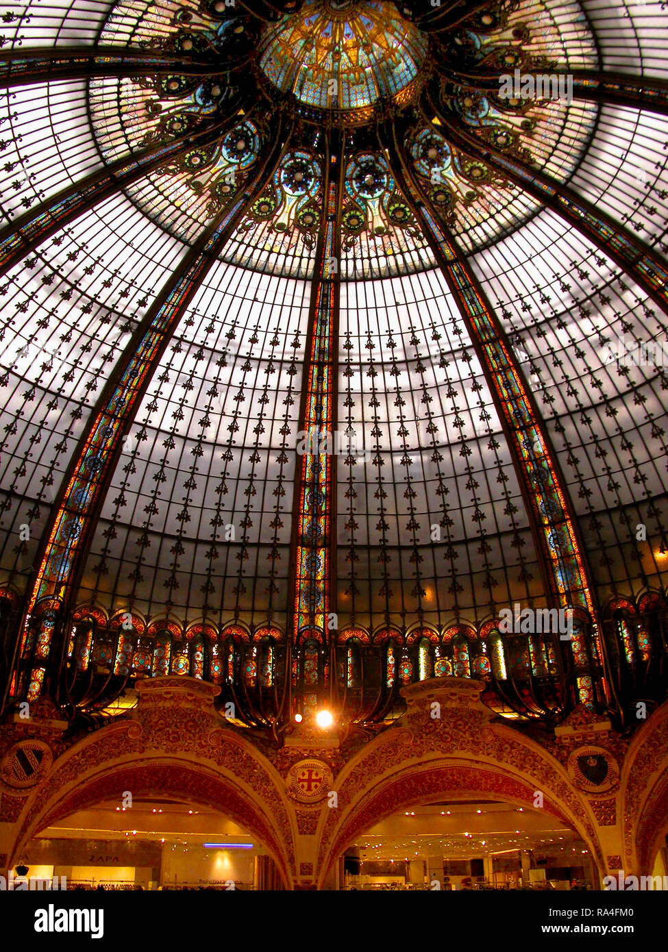 Galaries Lafayette and the stunning stained glass cuplola, 40 Boulevard Haussmann, Paris, France - Stock Image