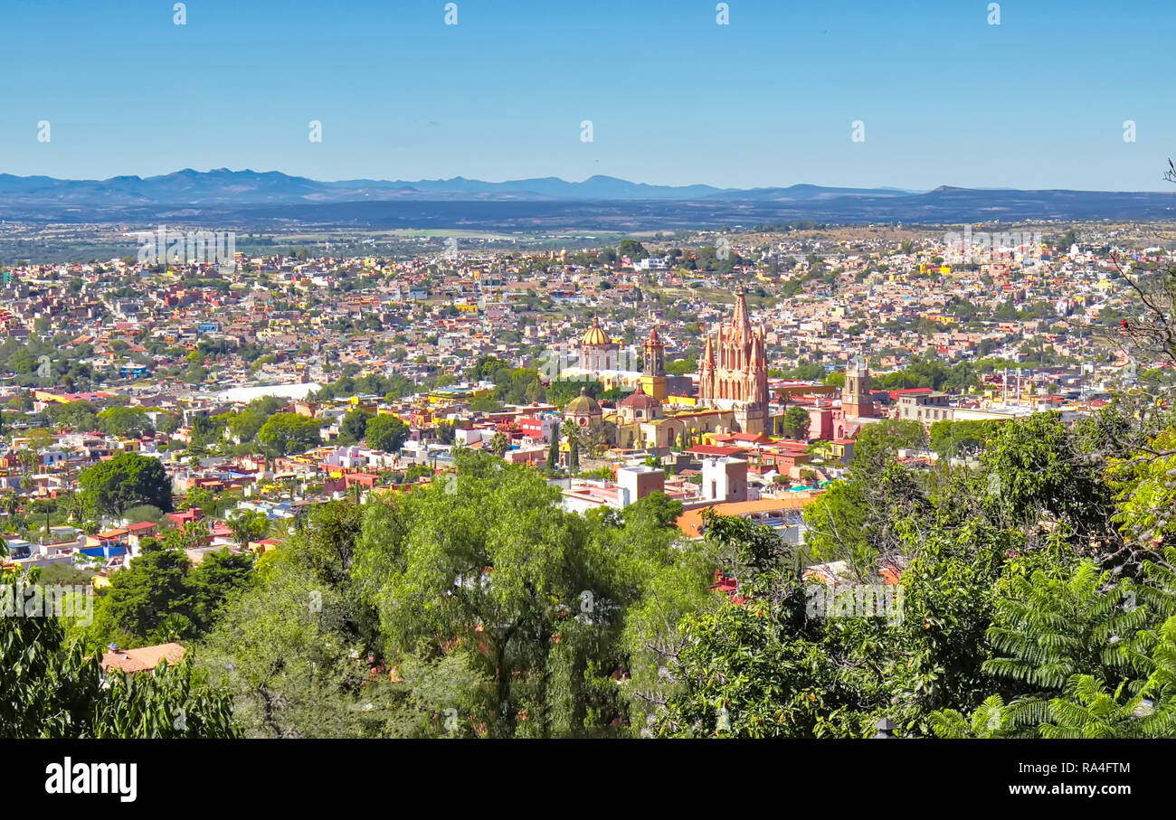 San Miguel de Allende view from a city lookout - Stock Image