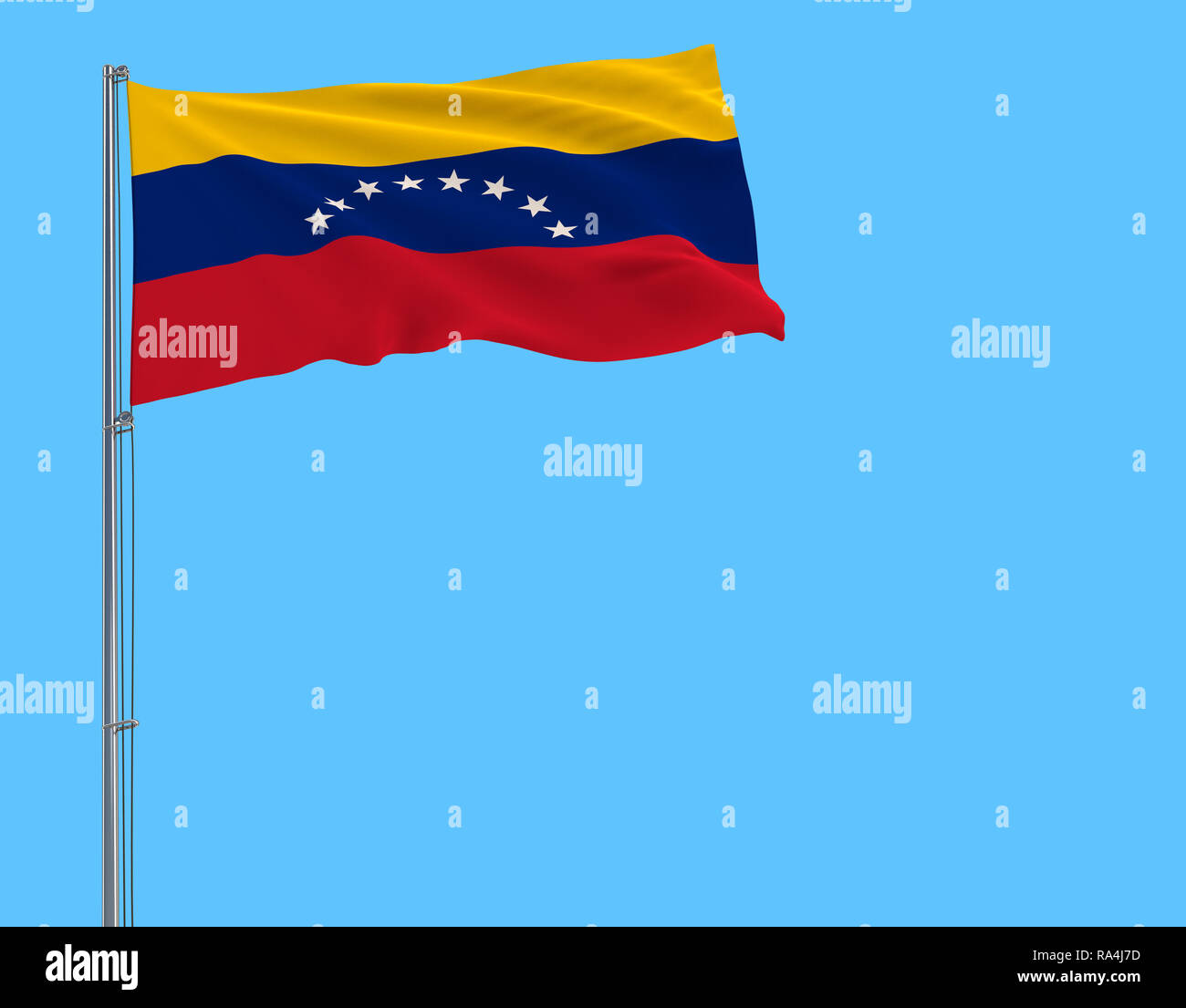 Flag of Venezuela on the flagpole fluttering in the wind on pure blue background, 3d rendering - Stock Image