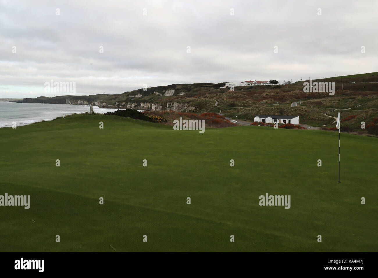 The 6th green of the course at Royal Portrush Golf Club in Co. Antrim. The organisers of golf's Open Championship have said they are staggered by the level of interest in the tournament's historic return to Northern Ireland. - Stock Image