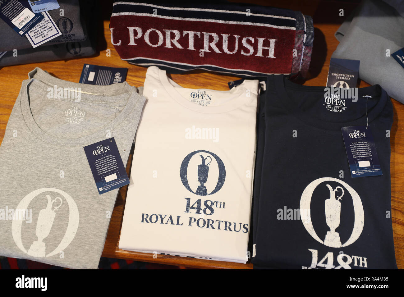 Merchandise on sale at Royal Portrush Golf Club in Co. Antrim. The organisers of golf's Open Championship have said they are staggered by the level of interest in the tournament's historic return to Northern Ireland. - Stock Image