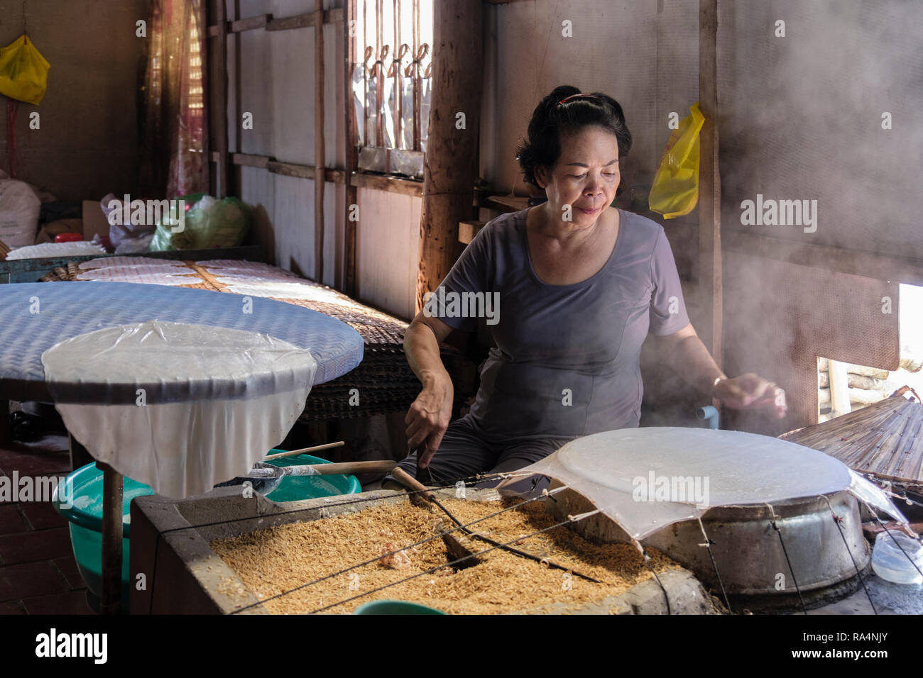 Vietnamese woman using rice grains to make rice paper wraps in a demonstration workshop. Cai Be, Tiền Giang Province, Mekong Delta, Vietnam, Asia - Stock Image