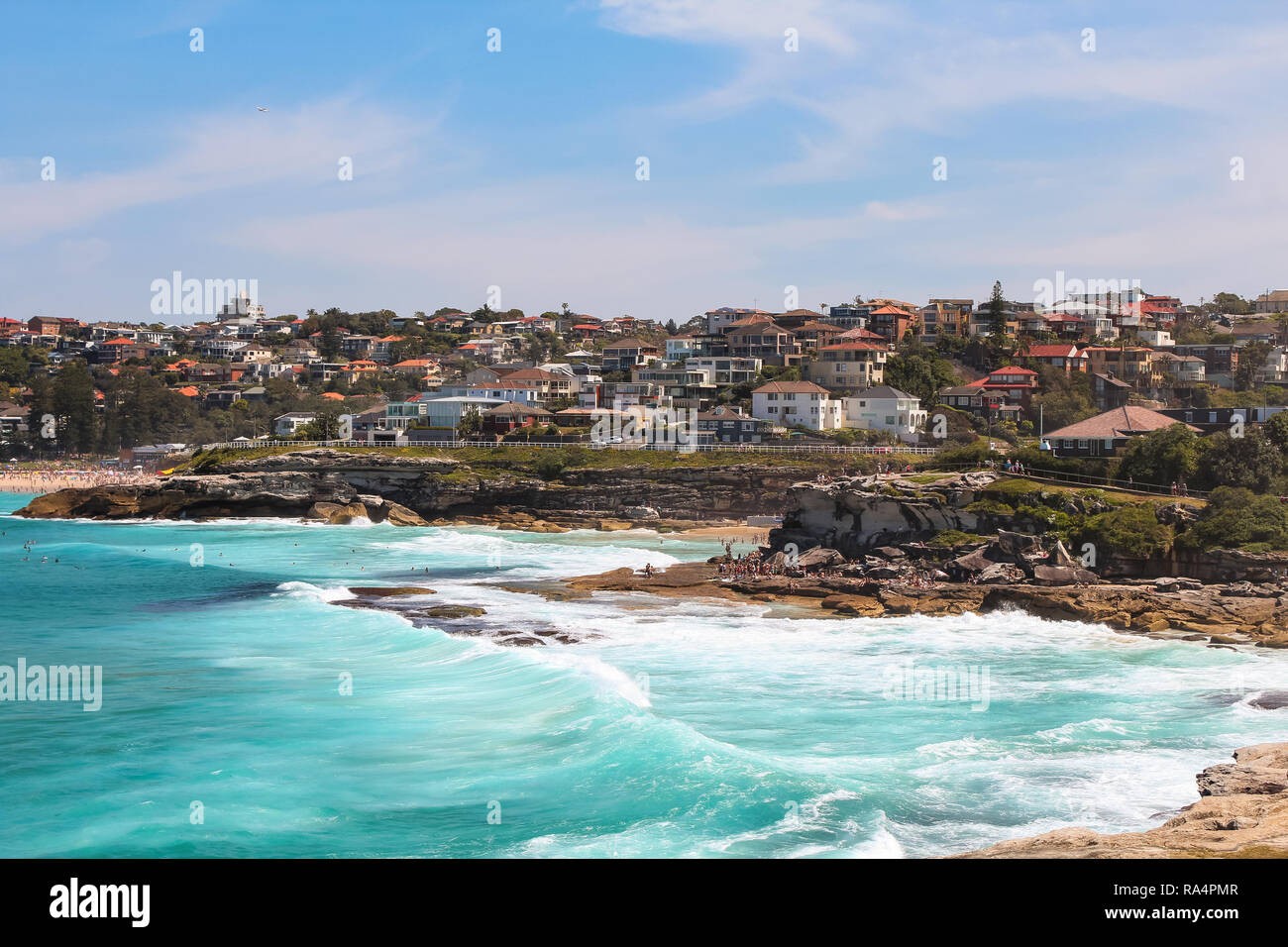View onto Tamarama and Bronte beach seen from Mackenzies Point in summer on the Bondi to Coogee beach walk (Sydney, New South Wales, Australia) Stock Photo