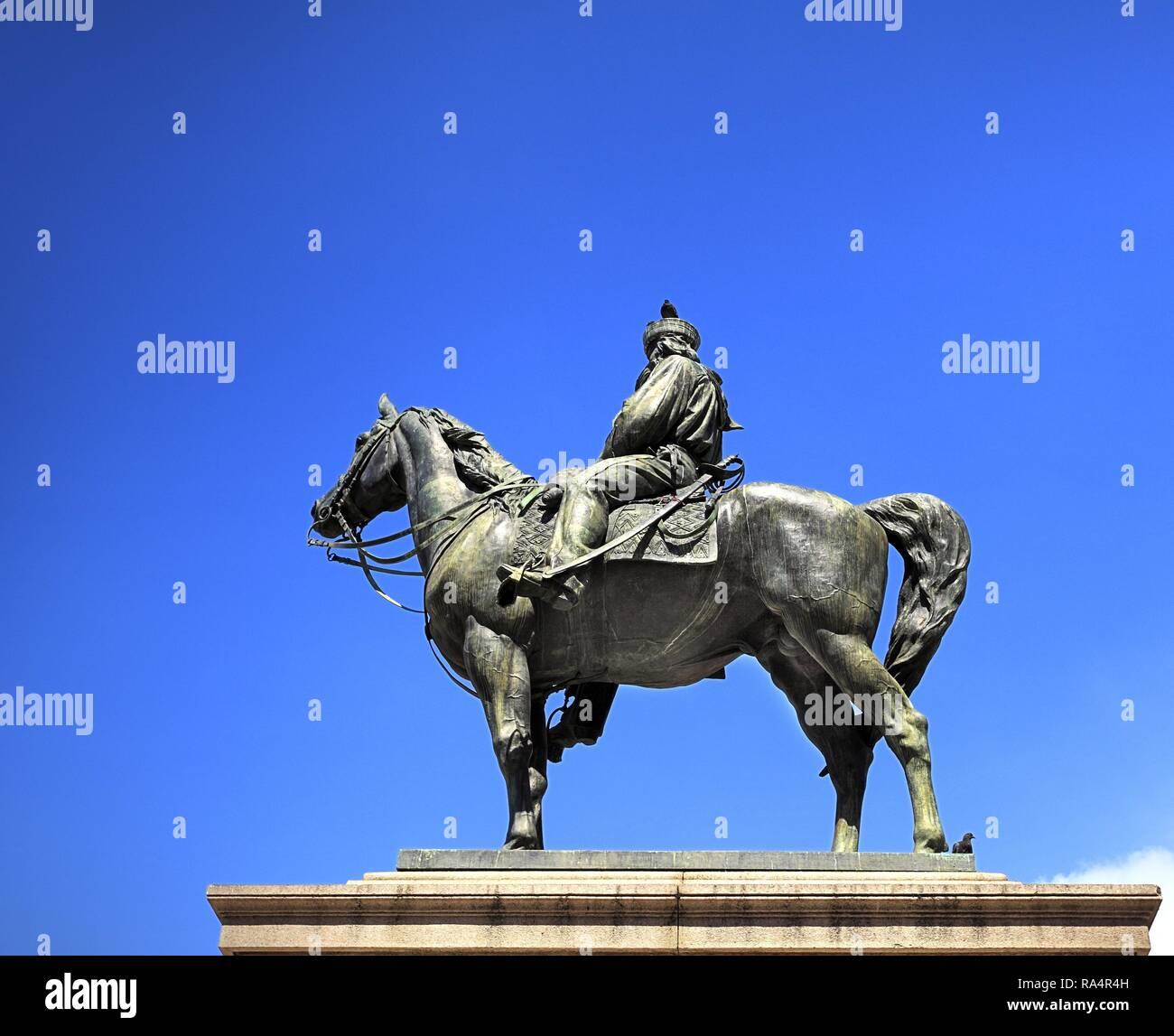 Wlochy - Liguria - Genua - plac Piazza de Ferrari - pomnik Giuseppe Garibaldi Italy - Liguria - Genoa -  Piazza de Ferrari square - Giuseppe Garibaldi monument - Stock Image