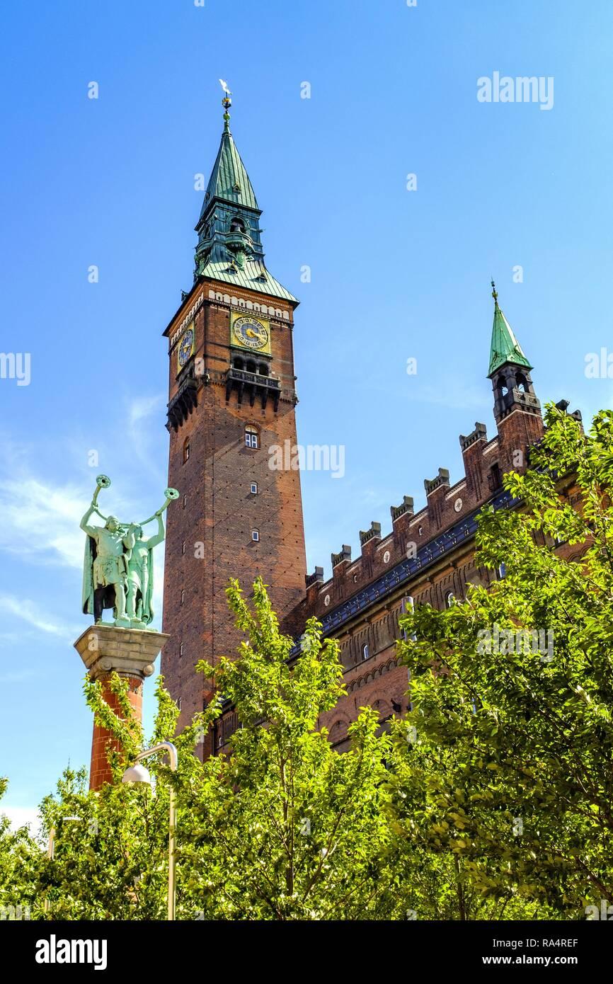 Dania - region Zealand - Kopenhaga - panorama centrum miasta - Plac Ratuszowy Pomnik Trebaczy i Ratusz miejski Denmark - Zealand region - Copenhagen - panoramic view of the city center with City Hall - Stock Image