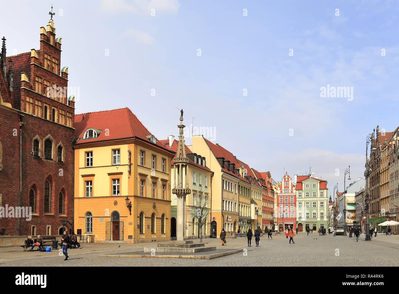 Polska - Slask - Wroclaw - Stare Miasto - Rynek - historyczna dzielnica Wroclawia Poland - Silesia - Wroclaw - old town and market square in historic quarter of Wroclaw - Stock Image