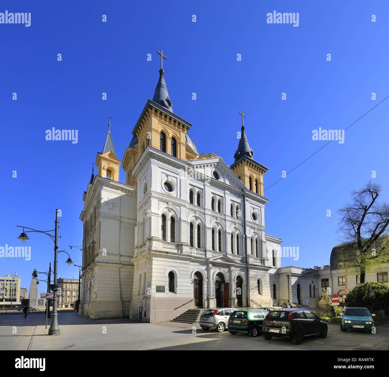 Lodz, Polska - Kosciol Zeslania Ducha Sw - Plac Wolnosci i ulica Piotrkowska Lodz, Poland - Historical quarter of Lodz and Pentecost Church at Piotrkowska street - Stock Image
