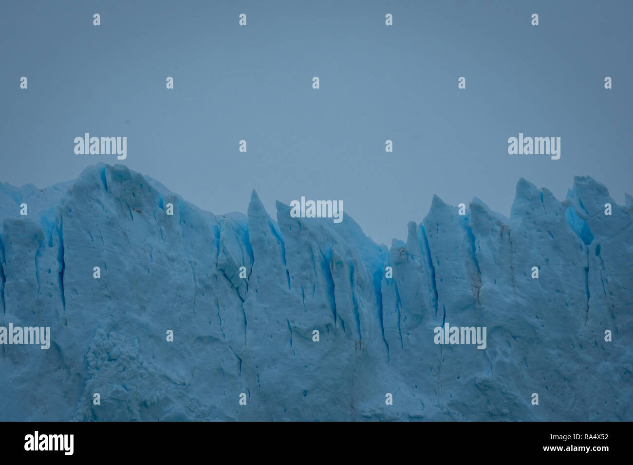 Close up on fractured drift ice off a glacier in Patagonia, Argentina showing the shards of ice - Stock Image