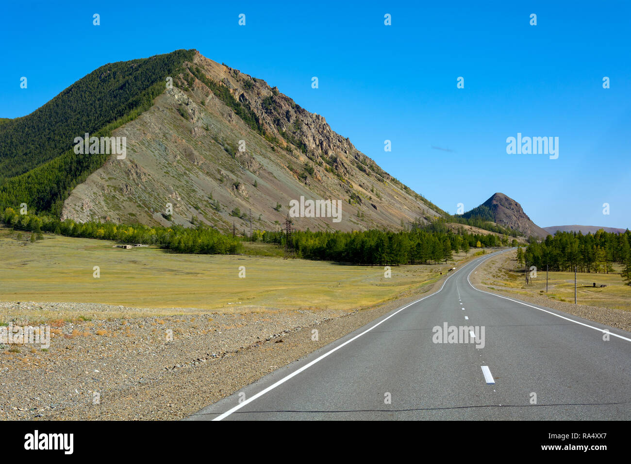 Picturesque mountain tops of pyramidal shape along the Chuya highway, Altai Republic - Stock Image