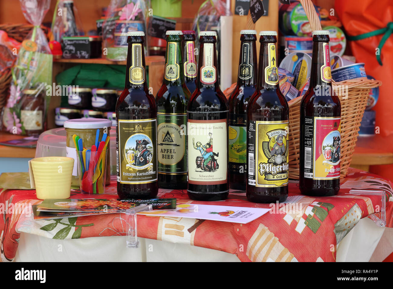 Beer from Brandenburg region at a market stall - Stock Image