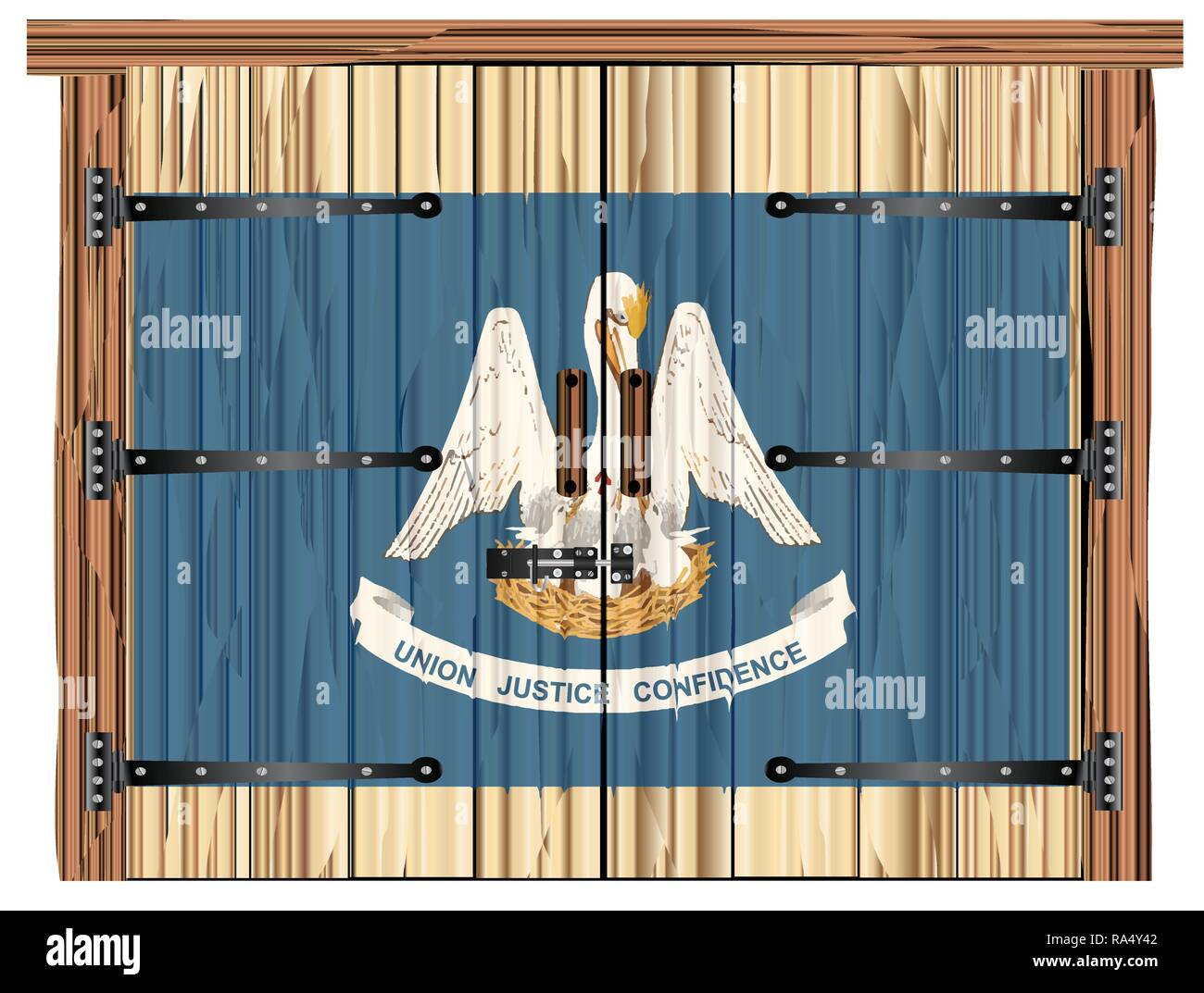A Large Closed Wooden Barn Double Door With Bolt And Hinges And The