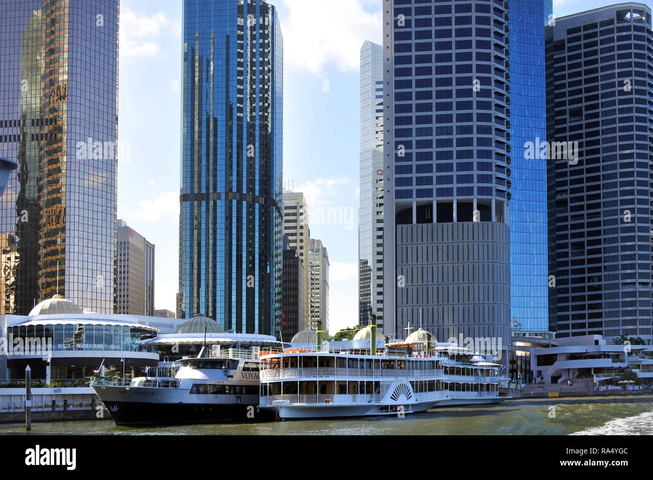 BRISBANE, AUS - DEC 30 2018:Skyline of Brisbane Riverside Quarter, Little Singapore. It's home to some of the city's most exciting restaurants, bars a - Stock Image