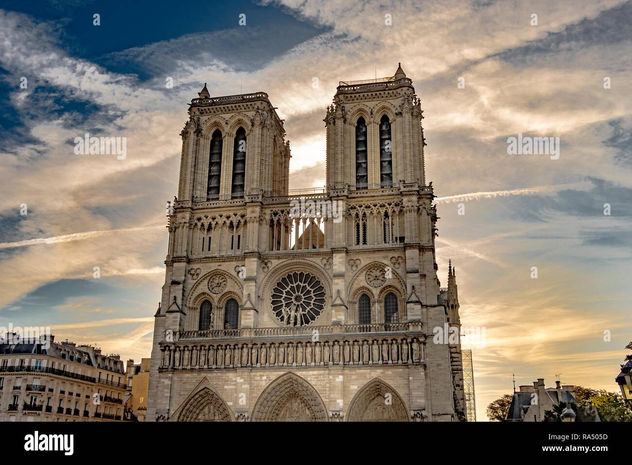 The interior of Notre-Dame de Paris also known as Notre Dame Cathedral a medieval Catholic cathedral on the Île de la Cité - Stock Image