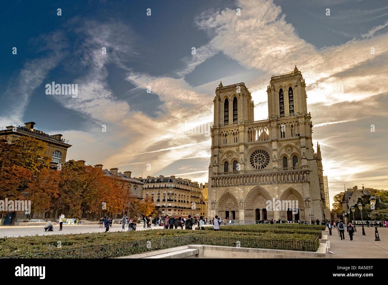Notre-Dame de Paris also known as Notre Dame Cathedral a medieval Catholic cathedral on the Île de la Cité in the fourth arrondissement of Paris - Stock Image