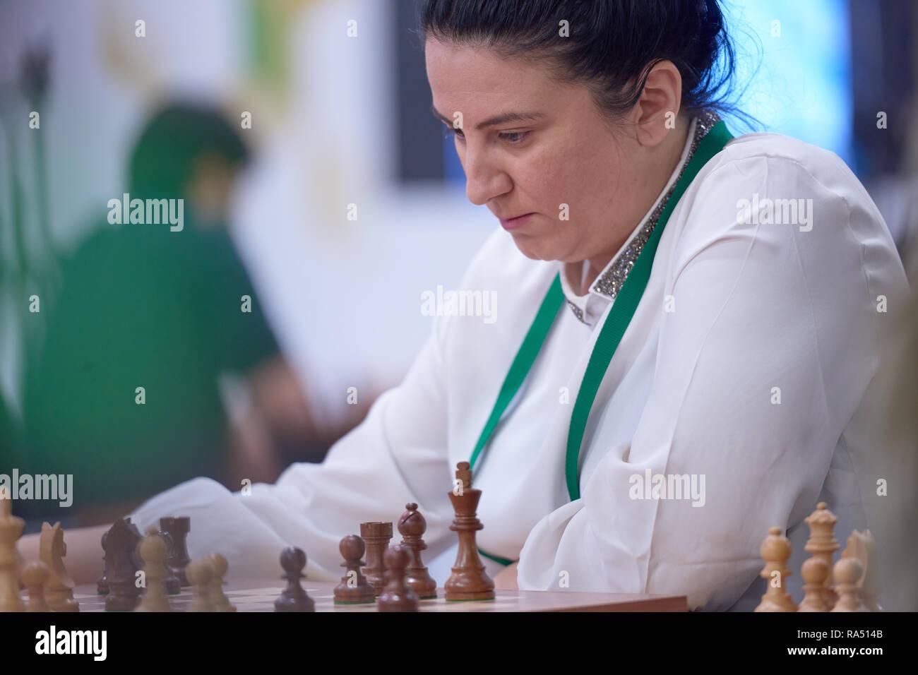 St. Petersburg, Russia - December 30, 2018: Women Grandmaster Zeinab Mamedjarova, Azerbaijan competes in King Salman World Blitz Chess Championship 20 - Stock Image