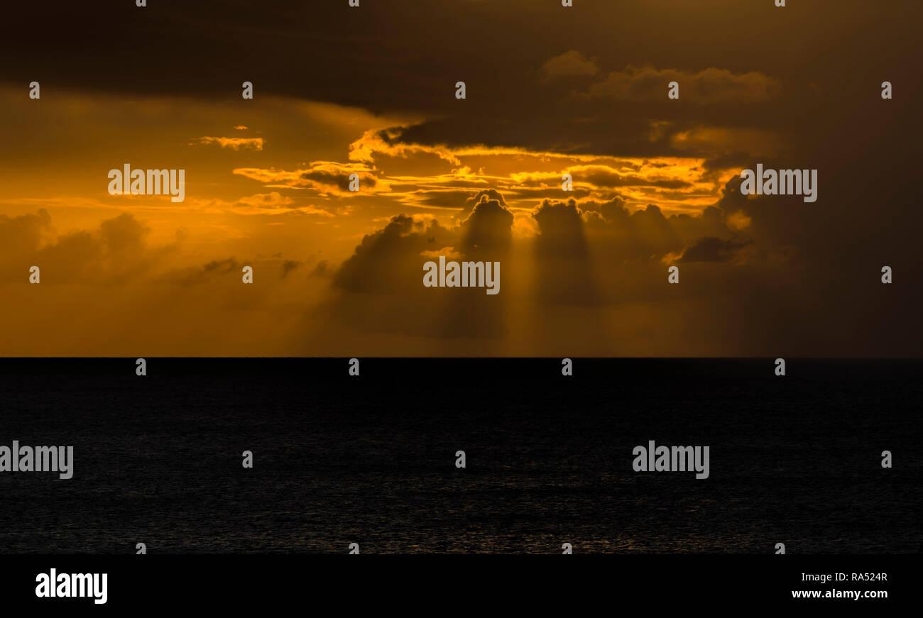 Caribbean Sunset Martinique - Stock Image