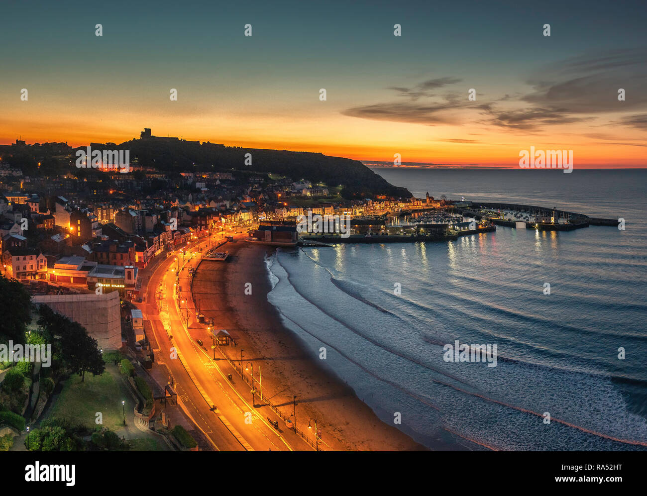 Scarborough by Night - Stock Image