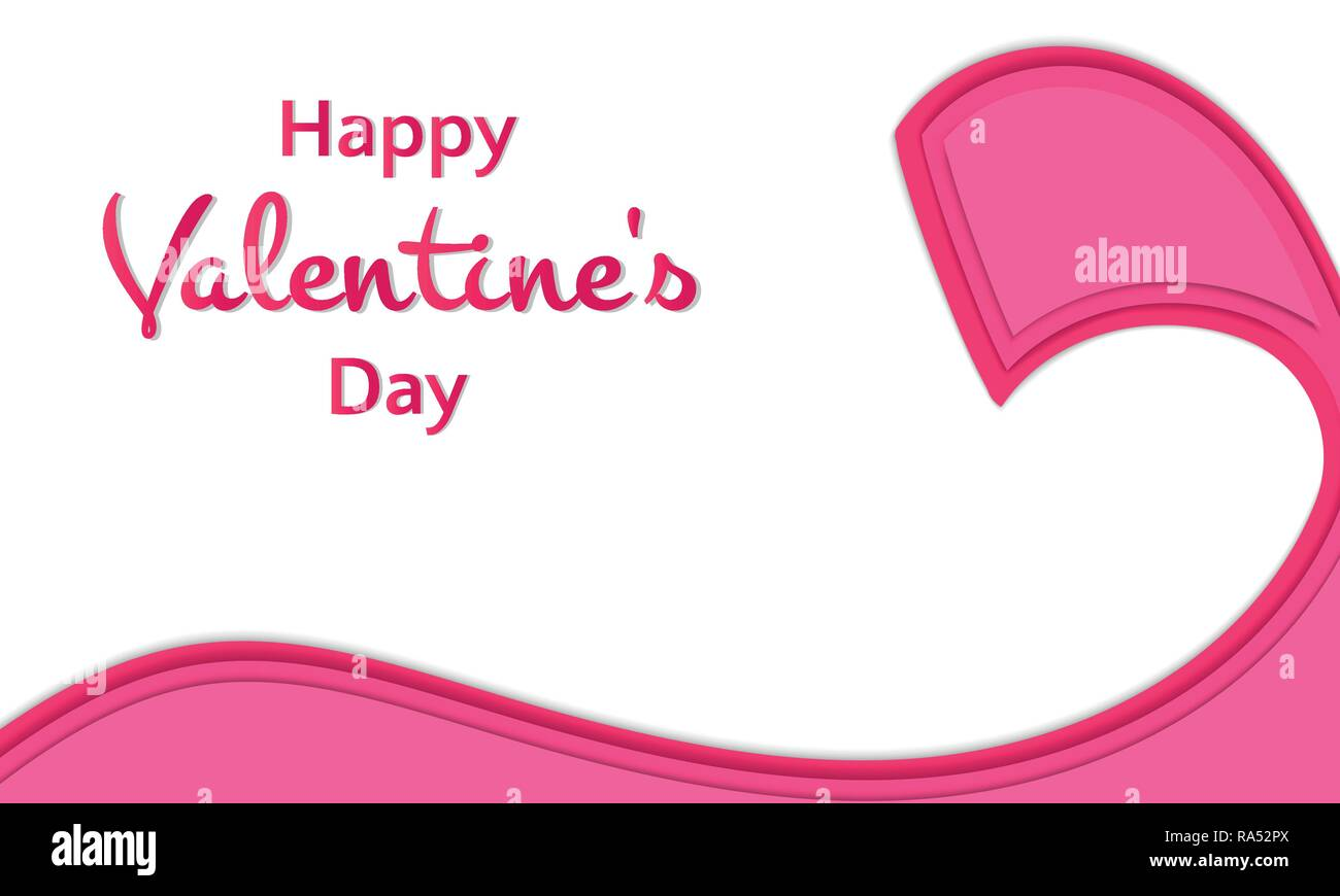 Happy Valentine S Day Words With Ribbon On White Background Festive
