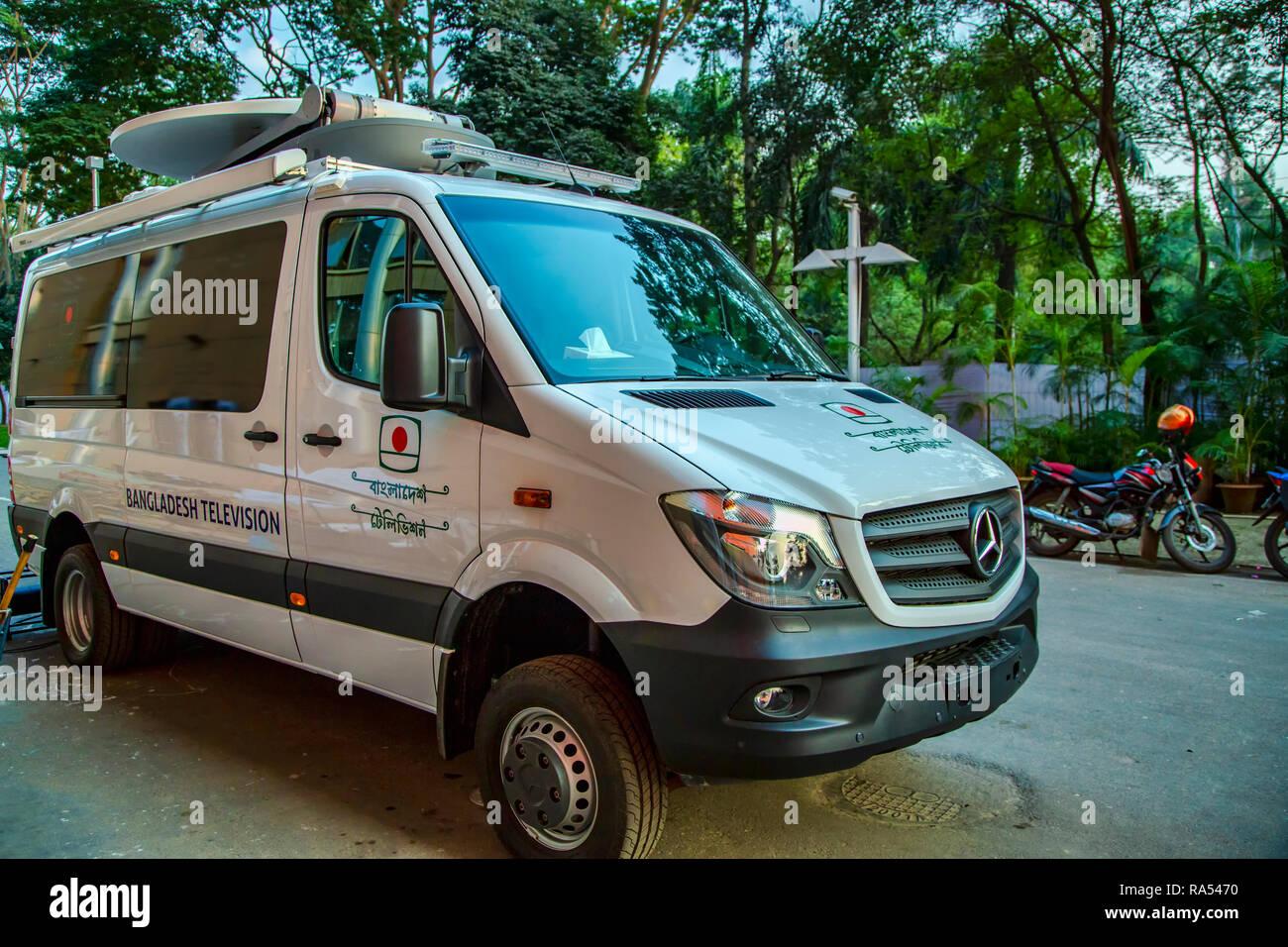 Bangladesh Television BTV Mercedes Benz Sprinter Outside Broadcast Van - Stock Image