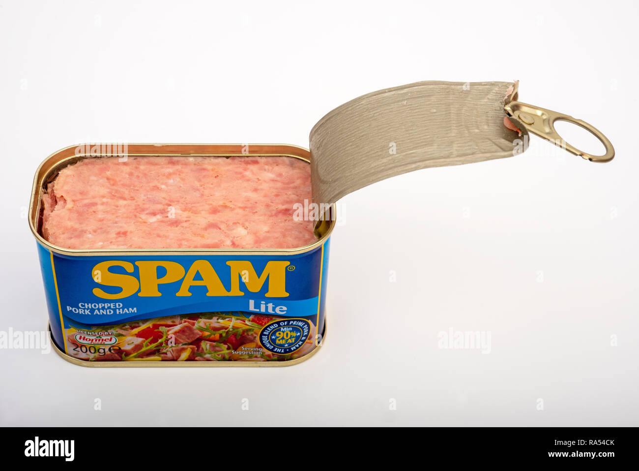 Spam Lite chopped pork and ham - Stock Image