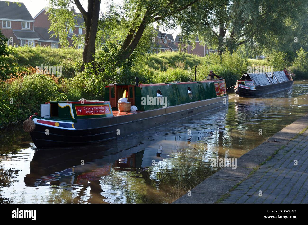 Narrow Boat & Butty. Shropshire Union Canal, Staffordshire, England, UK United Kingdom. - Stock Image