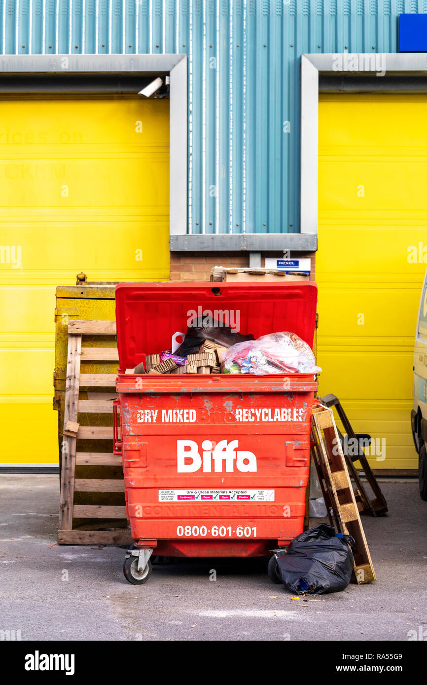 Red Biffa waste recycling bin - Stock Image