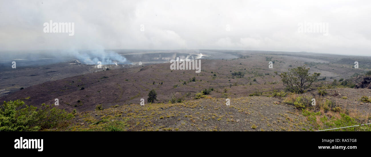 Active volcano and crater on the Big Island Hawaii - Stock Image