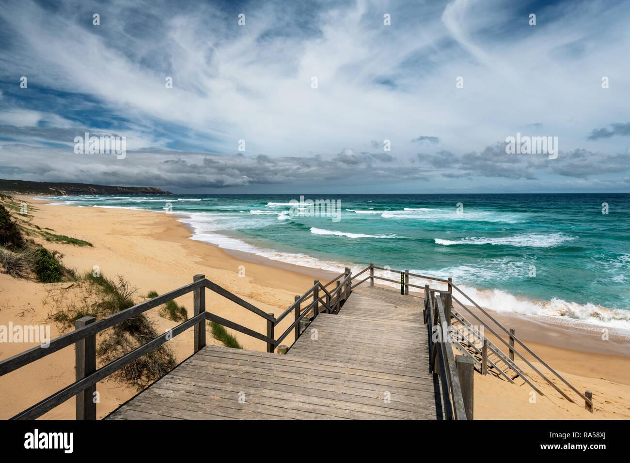 Beautiful Gunnamatta Ocean Beach on Mornington Peninsula. Stock Photo