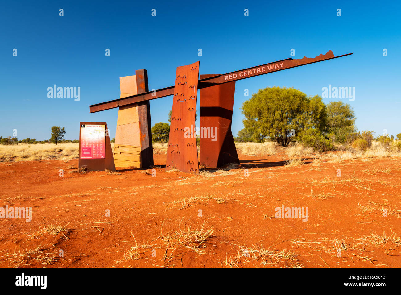 Road Sign and information board at the Red Centre Way. - Stock Image