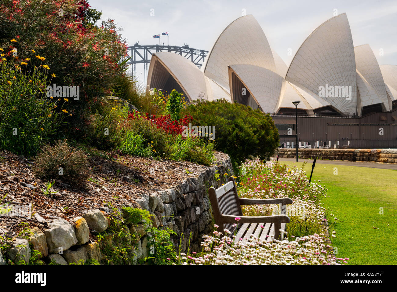 View from the Royal Botanic Garden on Sydney Opera House. - Stock Image