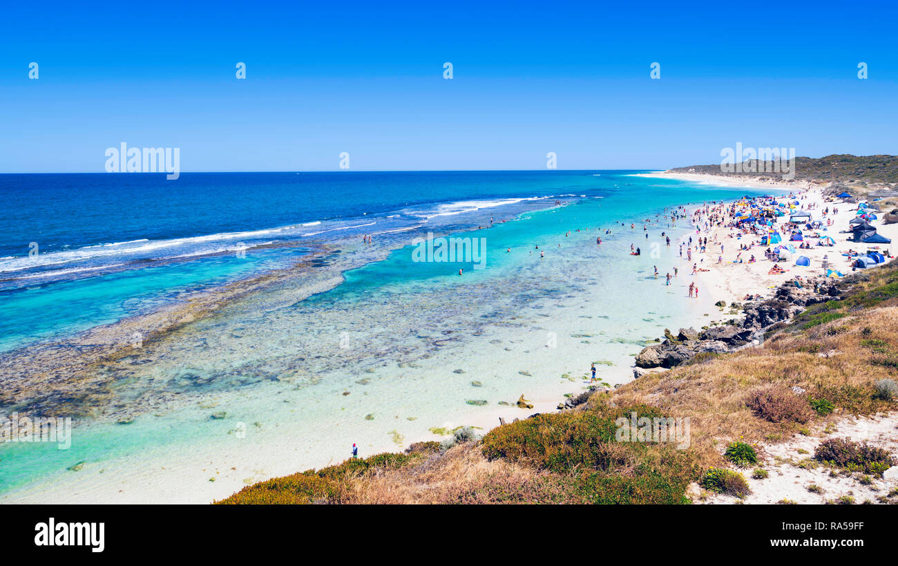 Perth, Western Australia. People at Yanchep Lagoon beach on a hot summer day. - Stock Image