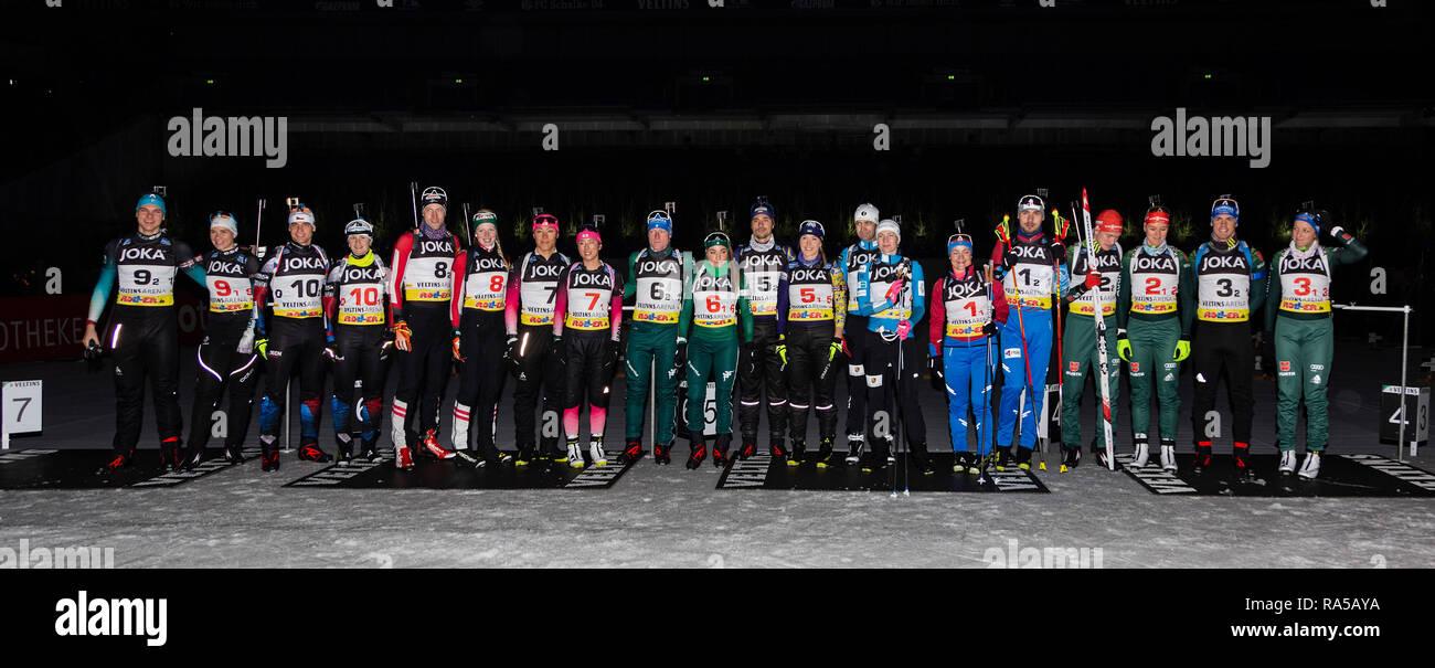 JOKA Biathlon World Team Challenge 2018 auf Schalke. Participants. - Stock Image