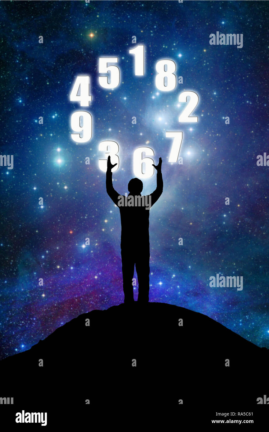 man accepting divination of future by numbers, numerology concept - Stock Image