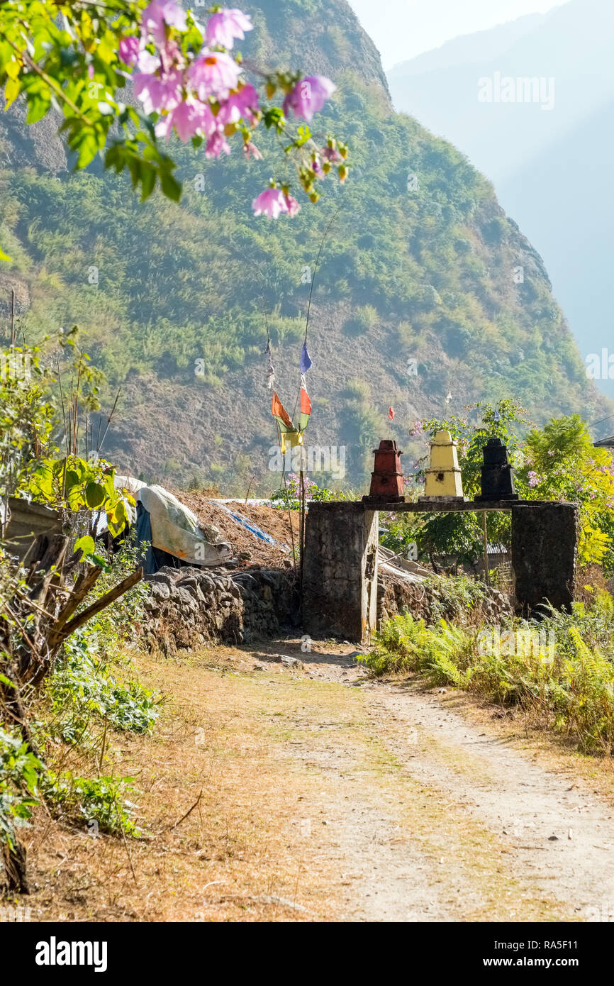 Kani (entrance gate) at the village of Tal on the Annapurna Circuit and Manaslu Circuit treks in Nepal - Stock Image