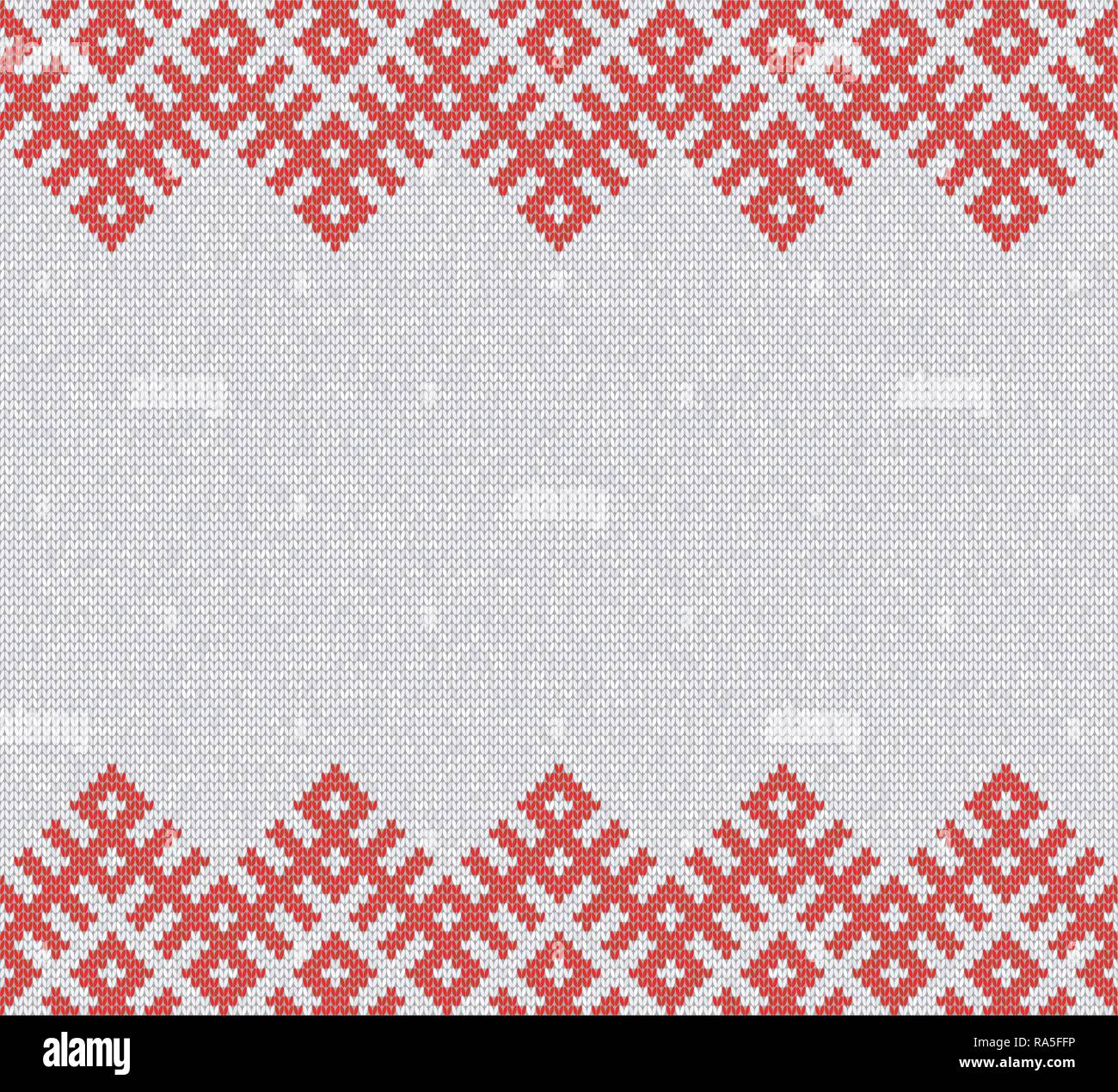 Seamless Knitting Pattern.Based on traditional Russian ornament.Red and white.Wool Knit Texture Imitation.Horisontal seamless.Banner and invitation te - Stock Vector