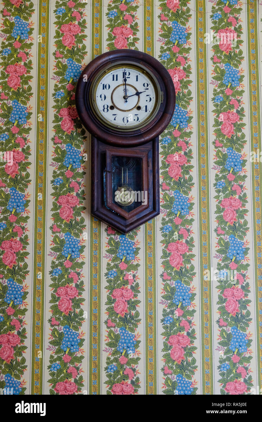 Antique pendulum wall clock & blue & pink vintage floral wall paper. Interior of old Texan home, Chestnut Square  Historic Village, McKinney Texas. - Stock Image