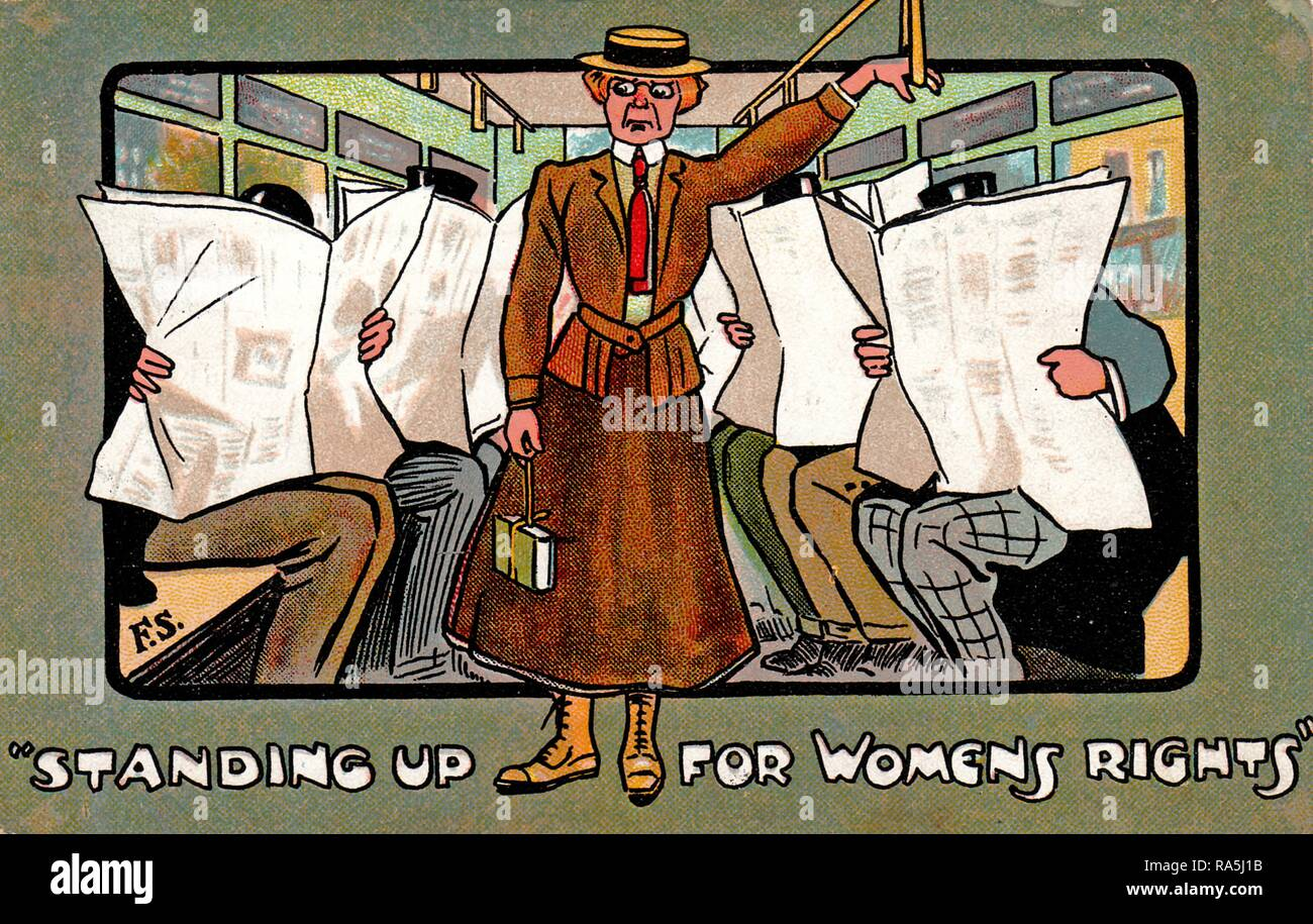 Anti-Suffrage, color postcard, depicting an unattractive, female suffragist, wearing a brown, Edwardian jacket and skirt, with a red tie and boater hat, unhappily standing on public transportation while two rows of seated men ignore her, captioned 'Standing Up For Women's Rights, ' published for the British market, 1907. () - Stock Image