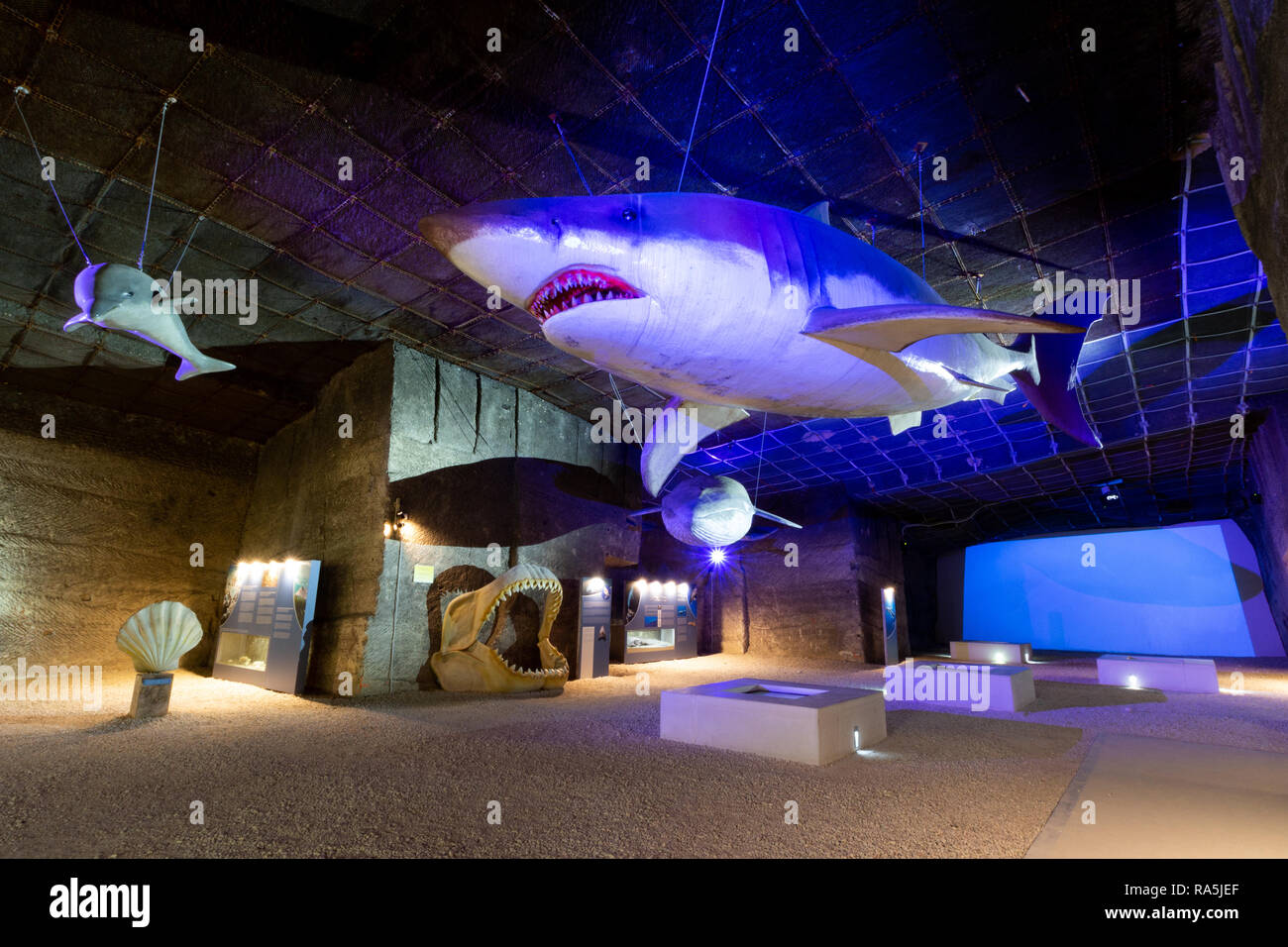 The so called `theme park` exhibition at the limestone quarry cave in Fertorakos, Hungary. - Stock Image