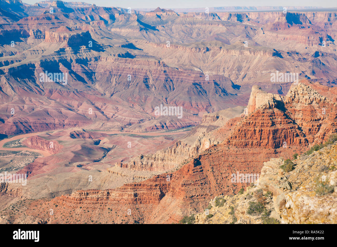 view of the colors of the  Grand Canyon from Lipan Point  lookout Stock Photo
