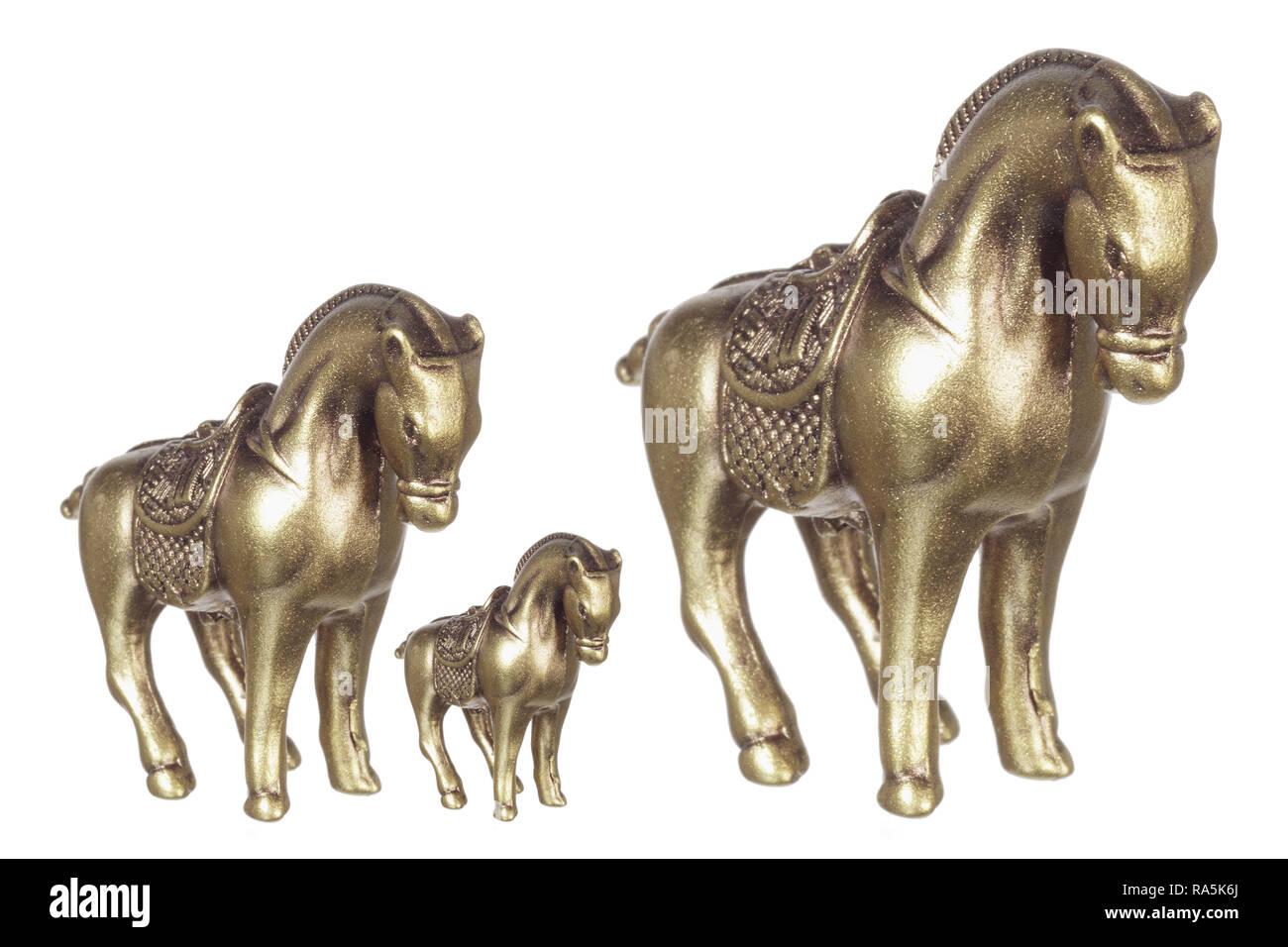 Horse Figurines on White Background Stock Photo