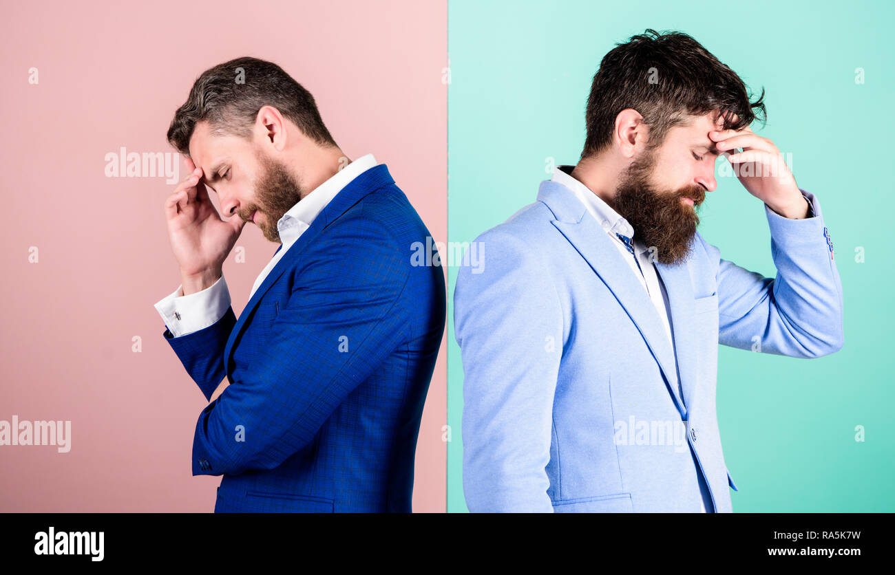 Different point of view. Opinion difference. Businessmen thoughtful face thinking about business problem. Business in trouble concept. Business misunderstanding. Business team work on solving problem. Stock Photo