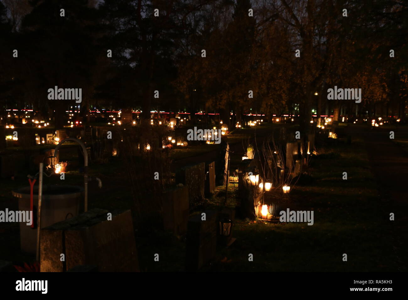 Malmi cemetery at Halloween night - Stock Image
