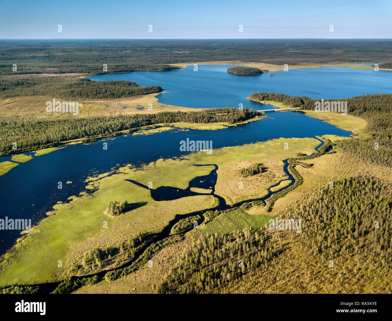 Drone shot, lake landscape with floodplains, wetland, moor, boreal, arctic conifers, forest, water channel, Suomussalmi, Kainuu - Stock Image