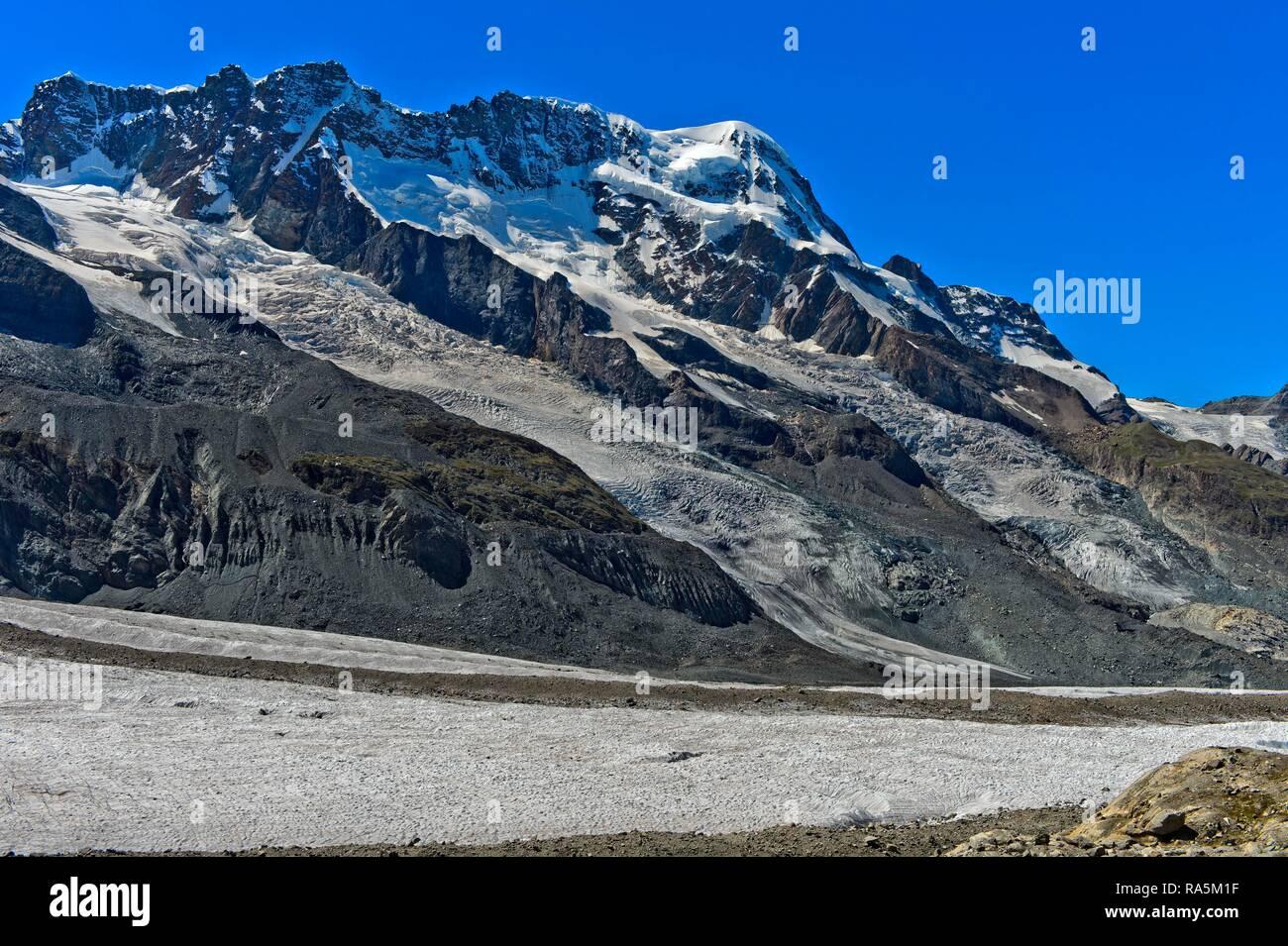 Breithorn and Breithorn Glacier and Schwärz Glacier, Zermatt, Valais, Switzerland - Stock Image