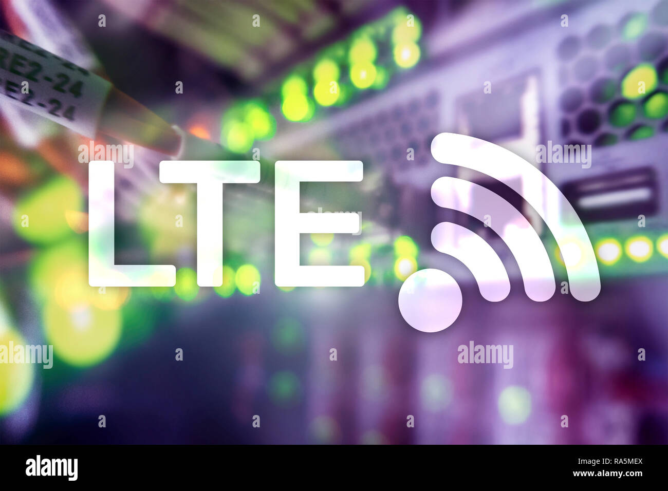 LTE, 5g wireless internet technology concept. 4G connected - Stock Image