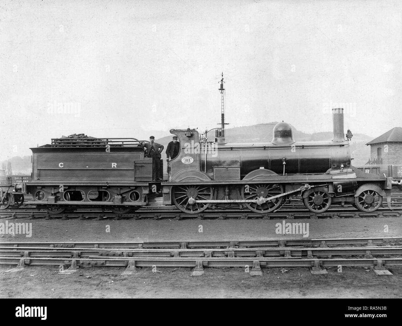 Brittain 4-4-0 Oban Bogie No.183 at Perth as built - Stock Image