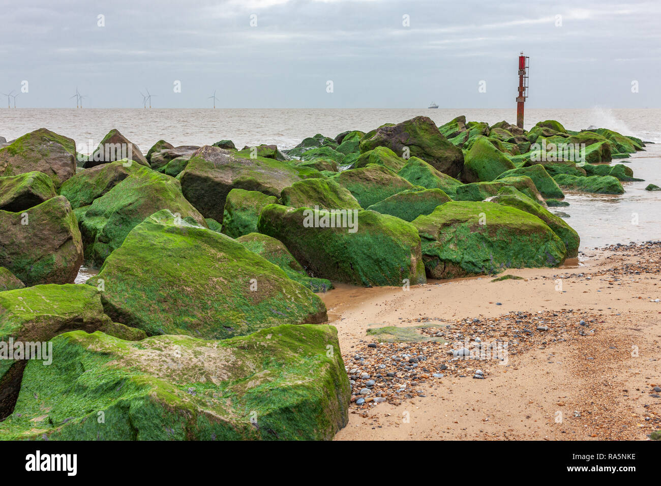 winter view of beach at caister norfolk  uk Stock Photo